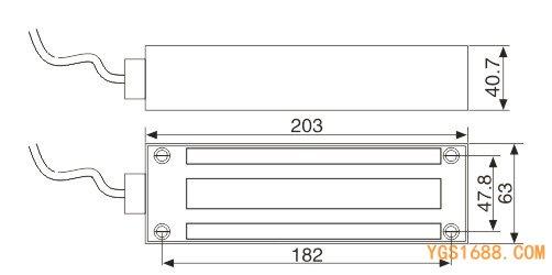 YGS-500N磁力锁尺寸图